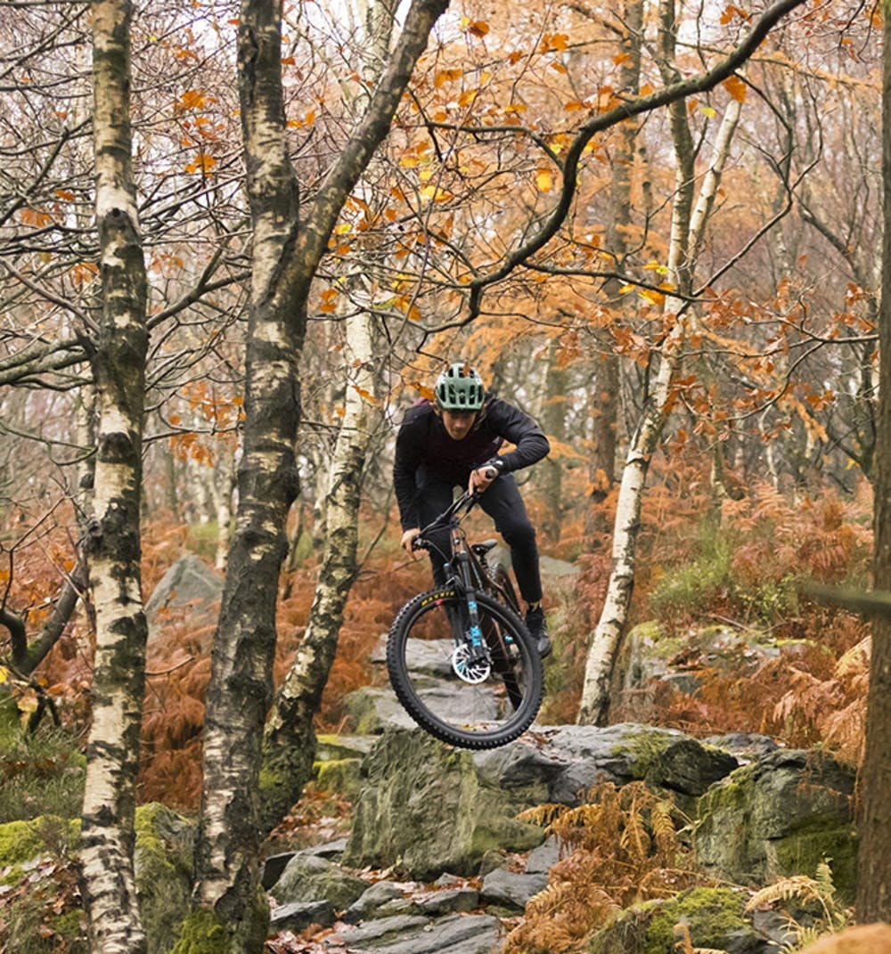 Jumping the Chameleon hardtail off of a rock down a leaf-covered trail