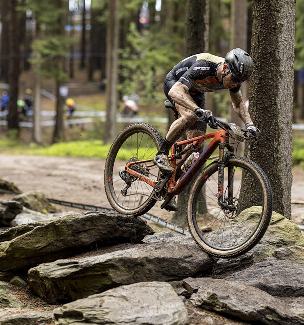 Maxime Marotte riding the Blur over a rock garden