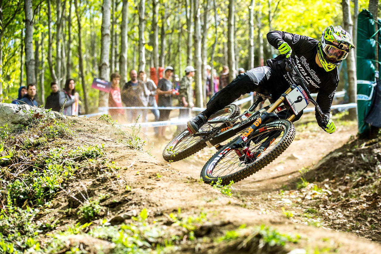 The Syndicate's Luca Shaw at the Lourdes World Cup DH Season Opener