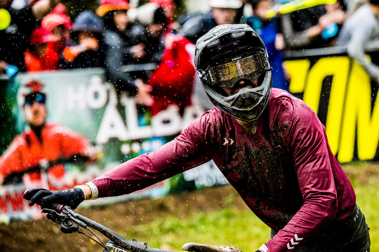 The Syndicate's Loris Vergier at the Lourdes World Cup DH Season Opener