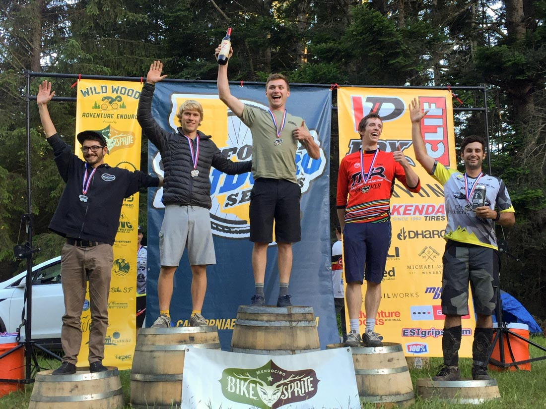 Kyle Harder on top of the podium at Wild Wood