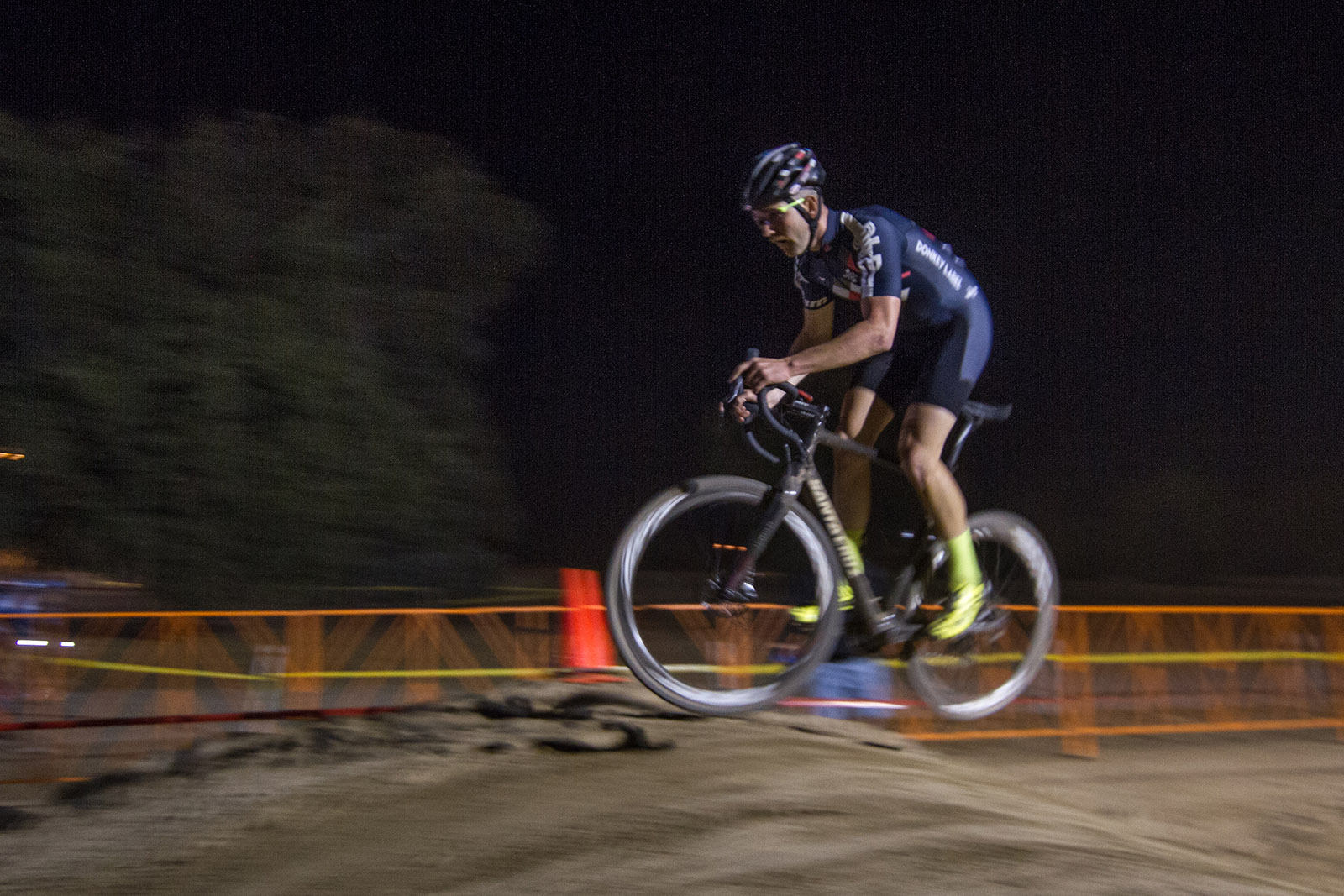 Free Agent Tobin Ortenblad Racing at Night at the CXLA Cyclocross