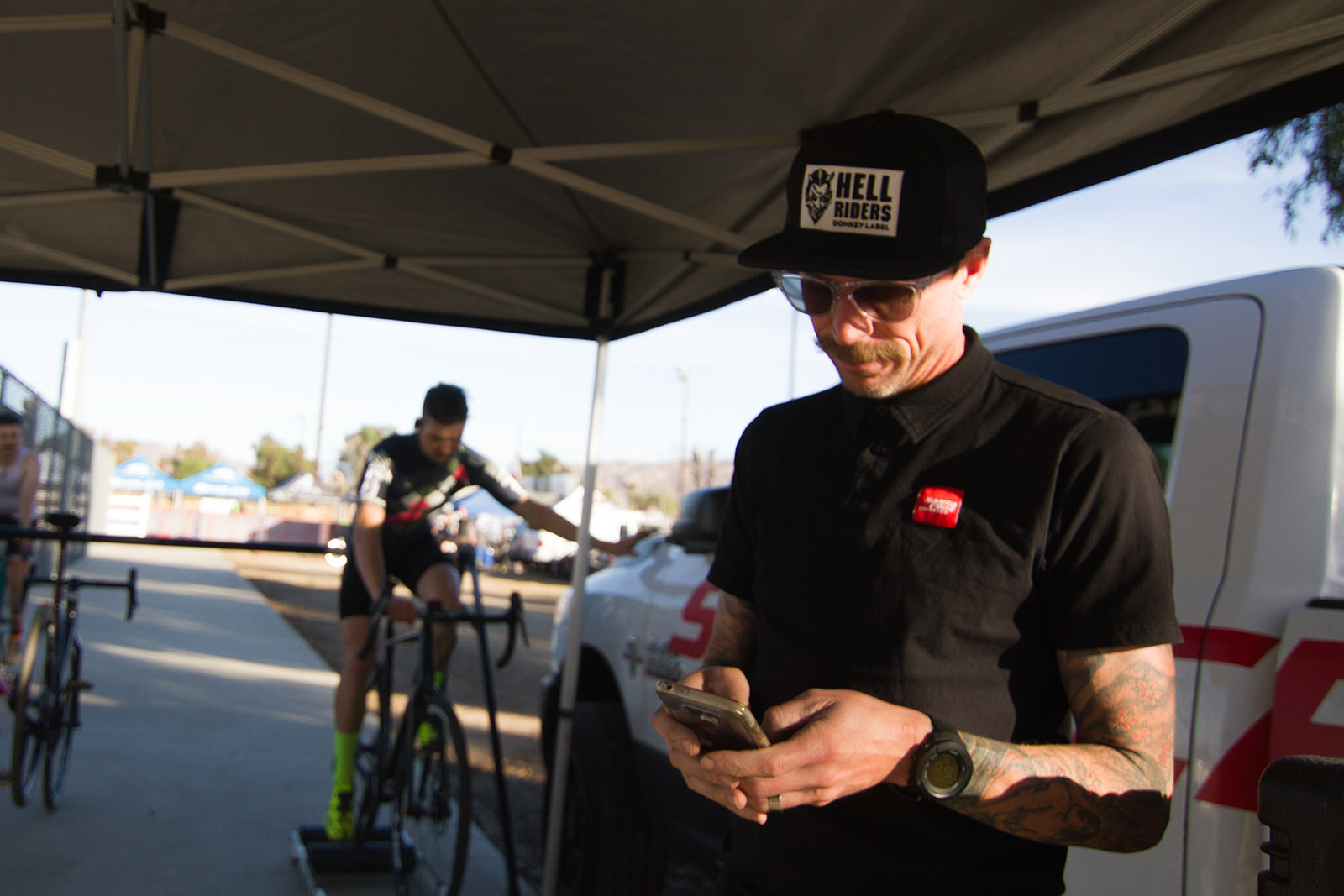 Tobin Ortenblad's Coach and Mechanic Chris Mcgovern at CXLA Cyclocross