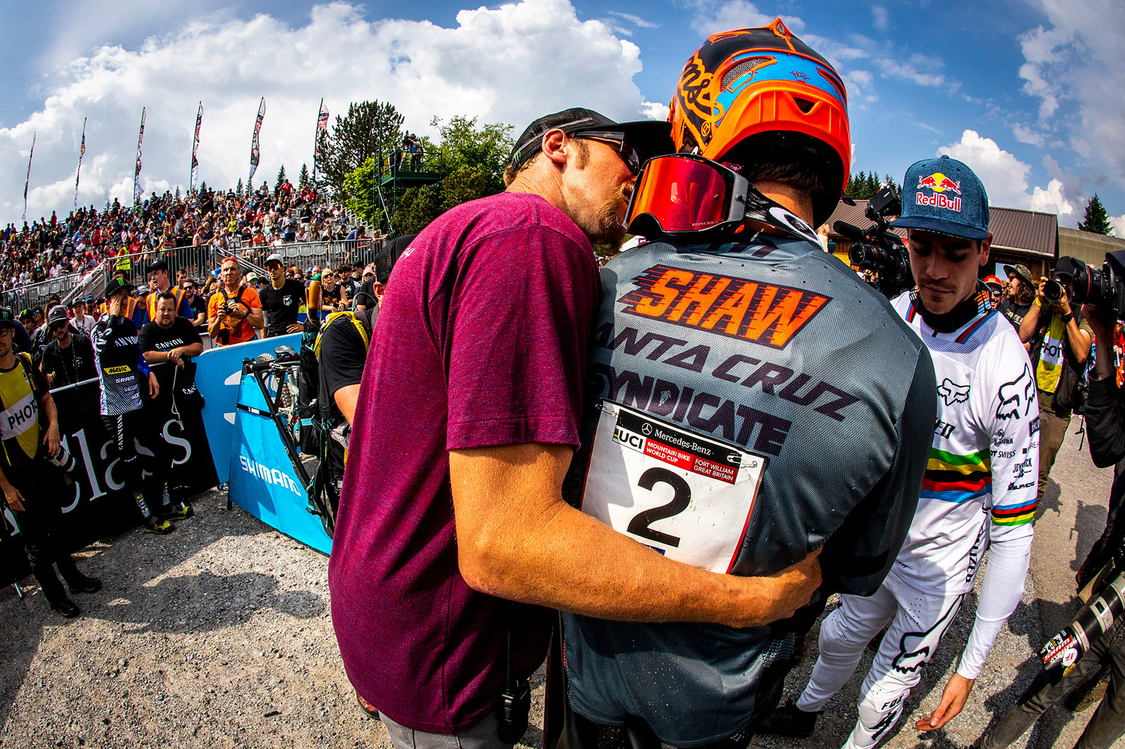 Santa Cruz Bicycles - Steve Peat and Luca Shaw at the Fort William World Cup Downhill