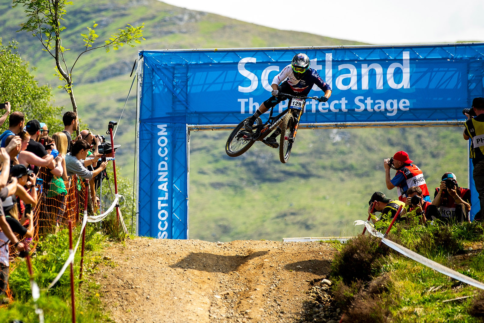 Santa Cruz Bicycles - Sam Dale Getting Sideways at the Finish of the Fort William World Cup Downhill
