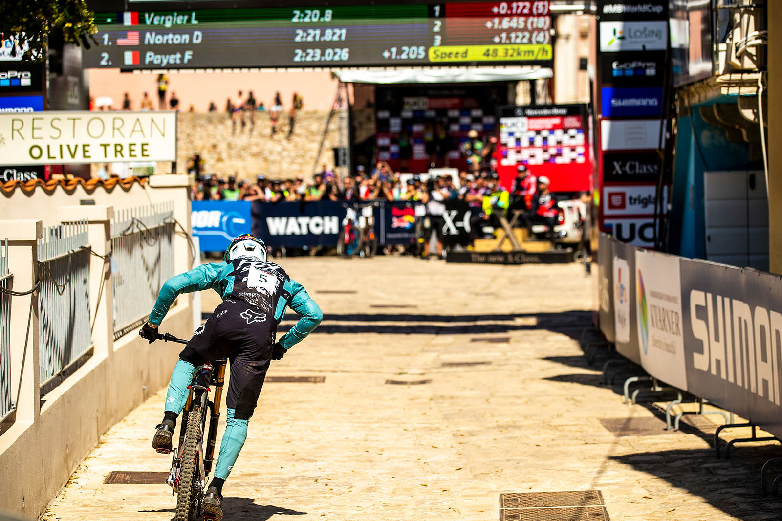 Santa Cruz Bicycles - Loris Vergier Sprinting to the Finish at the Losinj World Cup DH
