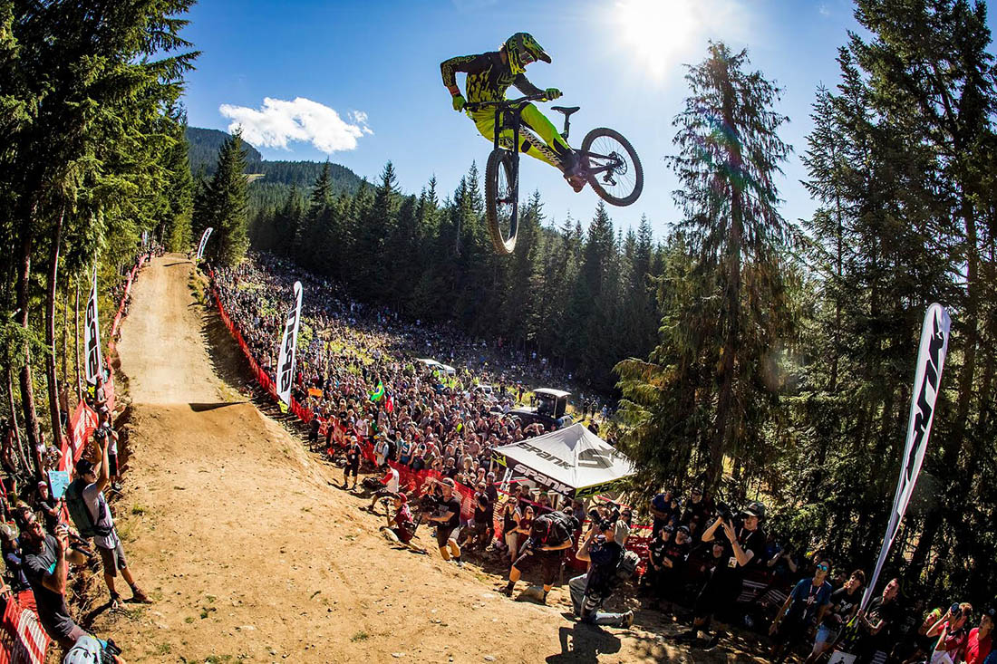 Sports Marketing Manager Allan Cooke on his way to first place at Crankworx Whip-Offs