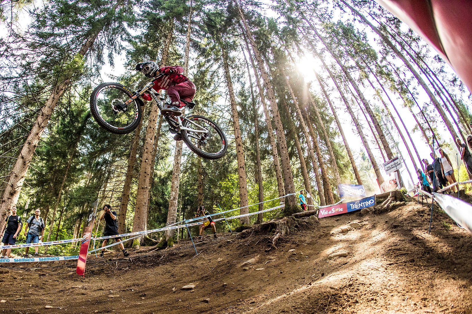 Luca Shaw going long off a jump at Val di Sole
