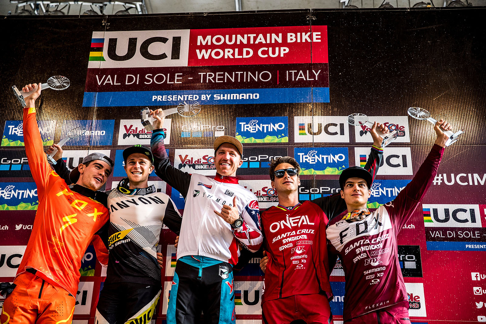 Greg and Loris on the podium at Val di Sole